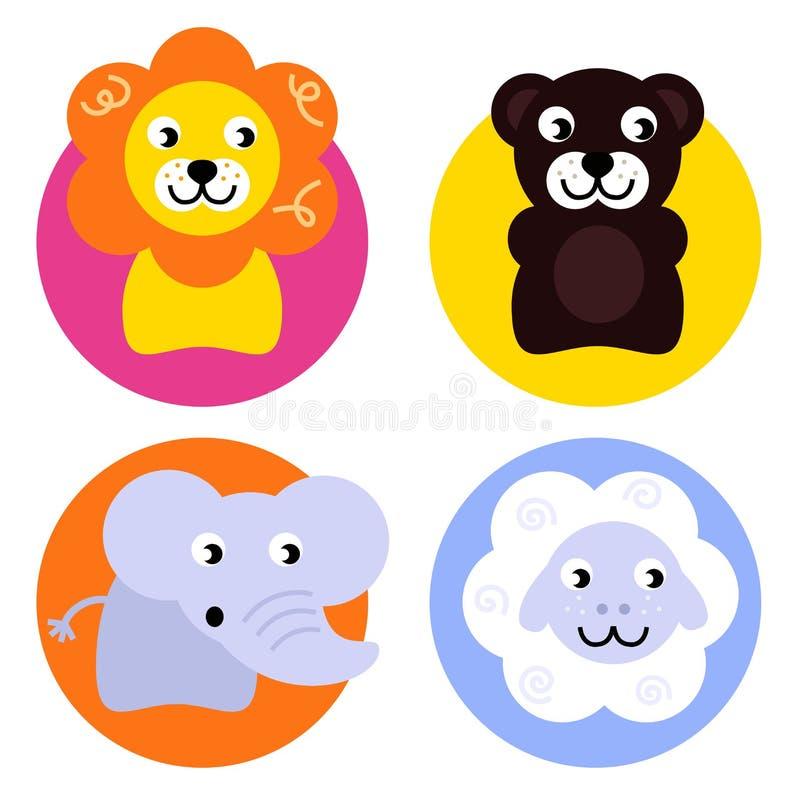 Animal buttons set royalty free illustration