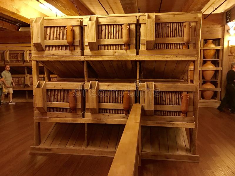 Animal Cages Inside Noah`s Ark Replica at the Ark Encounter. Williamstown, KY, USA - November 3, 2017: Animal cages inside the Noah`s ark replica at the Ark stock photo