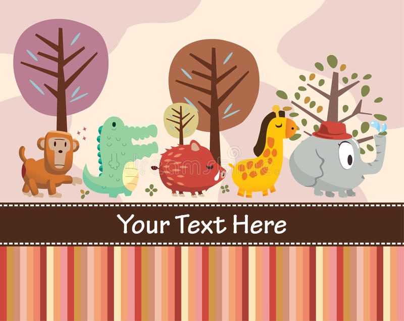 Download Animal card stock vector. Image of monkey, cute, color - 17261643
