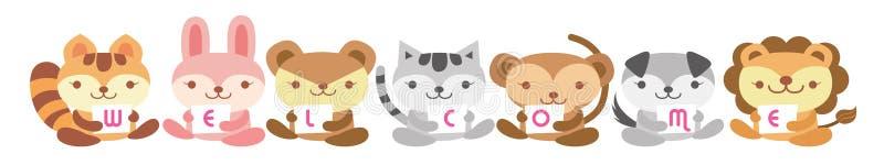 Animal card. Cute animal holding love letter