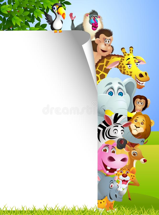 Download Animal Cartoon With Blank Sign Stock Vector - Illustration: 24705842