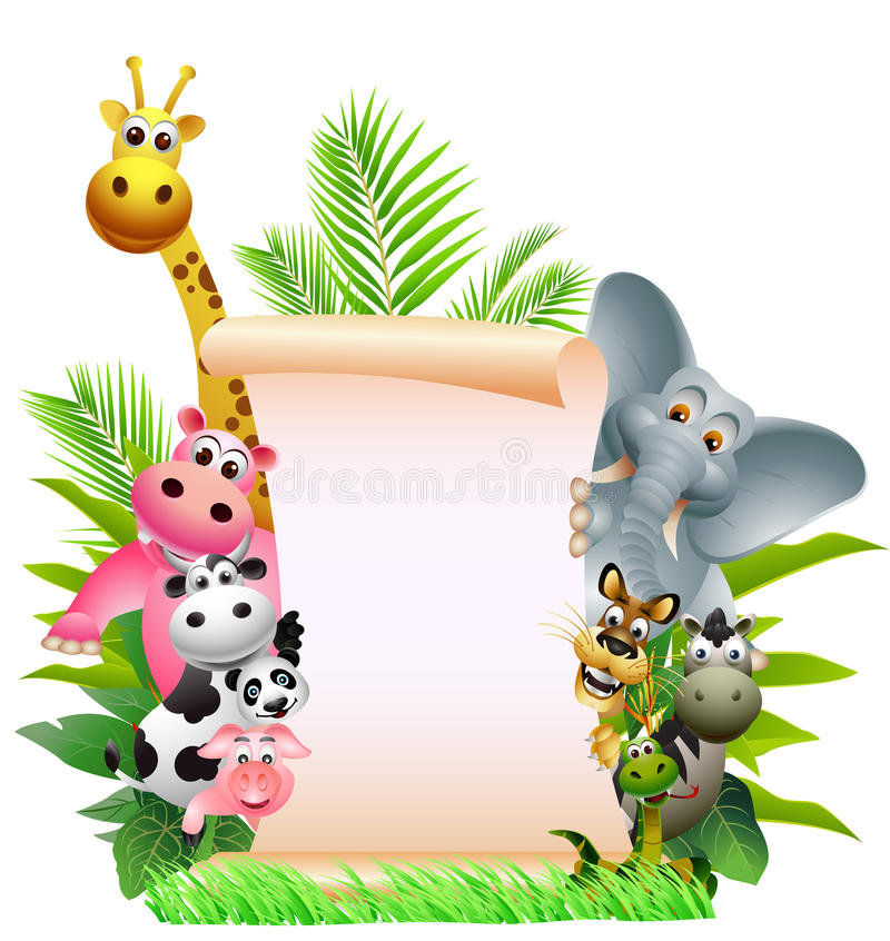 Download Animal Cartoon With Blank Sign Stock Illustration - Image: 27048227