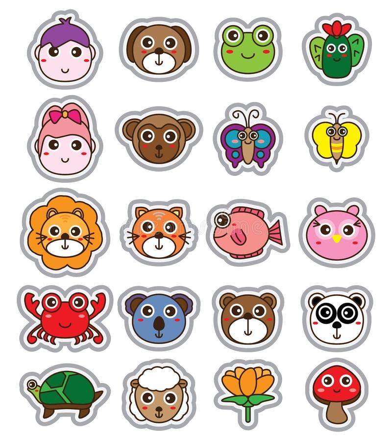 Animal cartoon head sticker set stock illustration