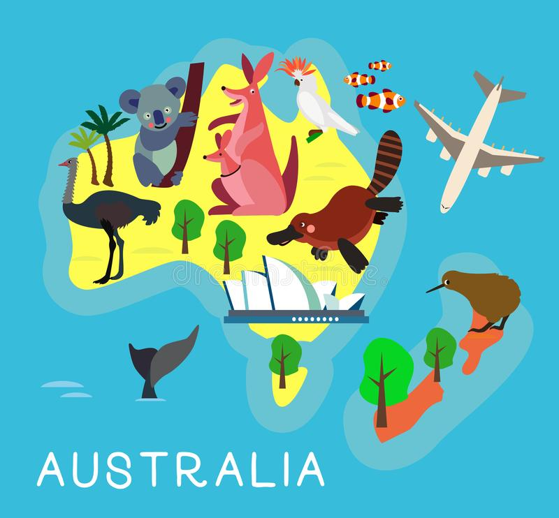 Animal Cartoon Map. Australia for Children and Kids. Vector Illustration. royalty free illustration