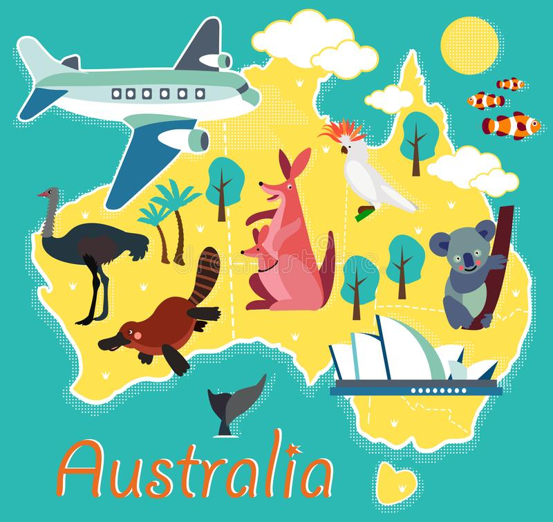 Animal Cartoon Map. Australia for Children and Kids. Vector Illustration. vector illustration