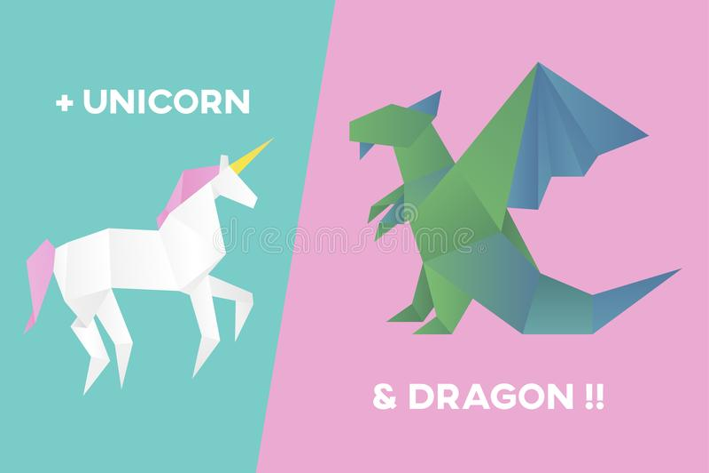 Animal cartoon origami icon vector royalty free illustration