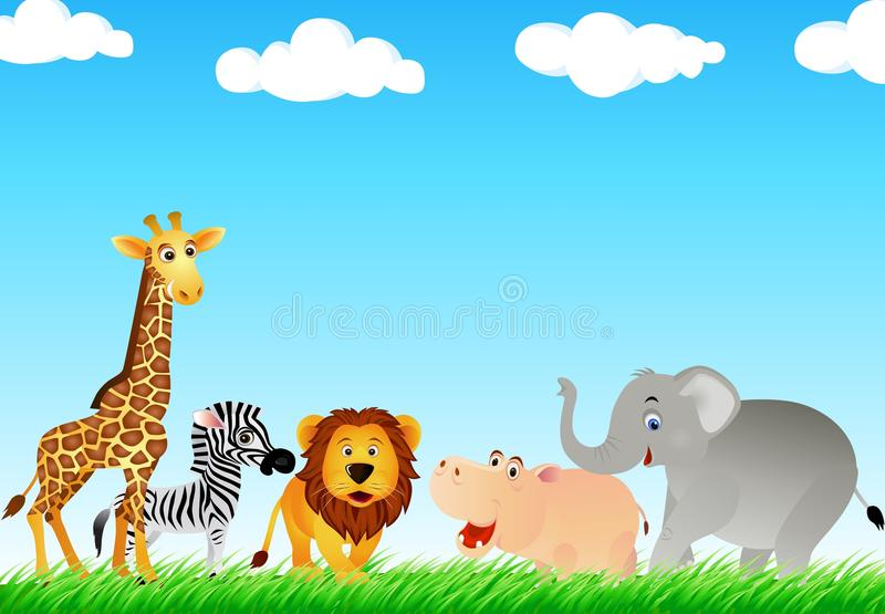 Download Animal cartton in the wild stock vector. Illustration of savanna - 12370691