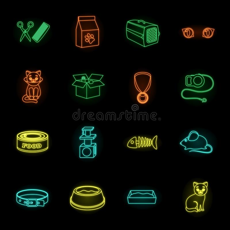 An animal cat neon icons in set collection for design. Caring for a cat vector symbol stock web illustration. stock illustration