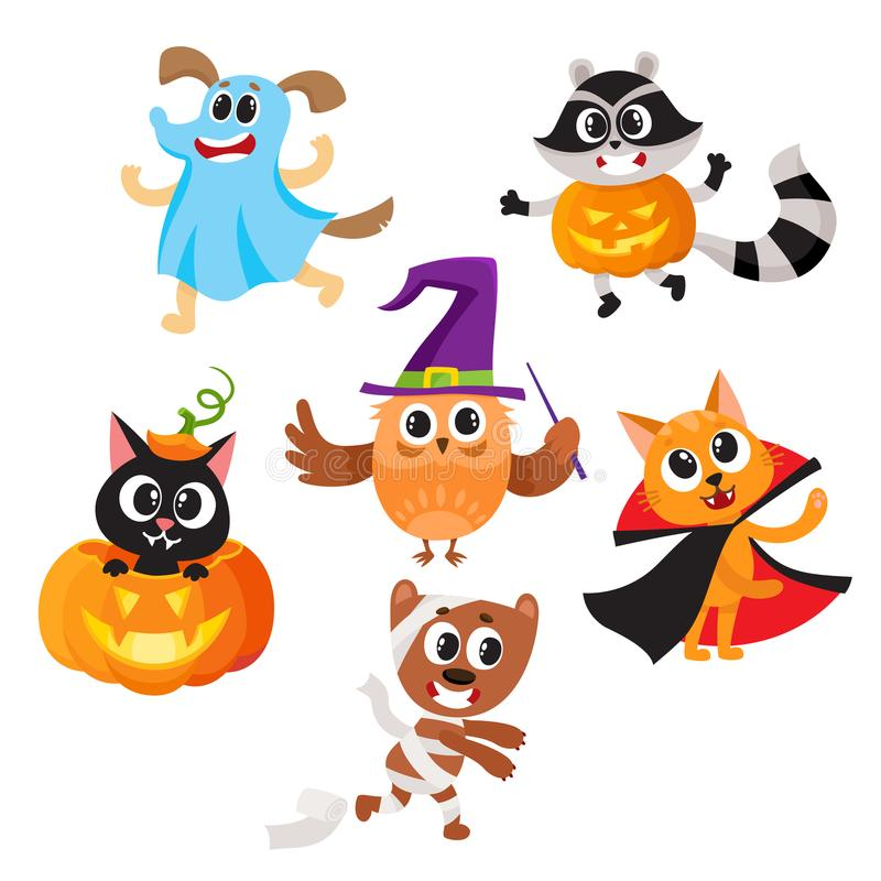 Animal characters dressed in Halloween costumes. Set of cute funny animal characters dressed in Halloween costumes, cartoon vector illustration on white royalty free illustration