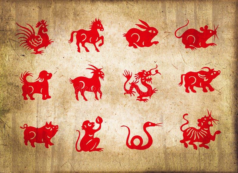 Animal of the chinese zodiac, sepia textured background stock photos