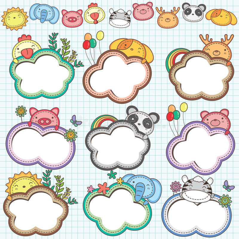 Free Animal Cloud Frames Set 2 Royalty Free Stock Images - 30293119