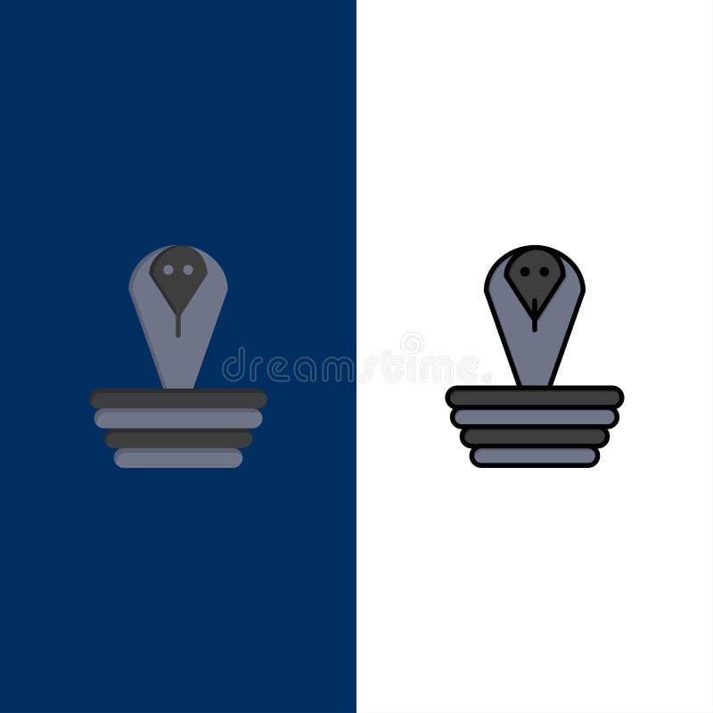 Animal, cobra, Índia, rei Icons O plano e a linha ícone enchido ajustaram o fundo azul do vetor ilustração royalty free
