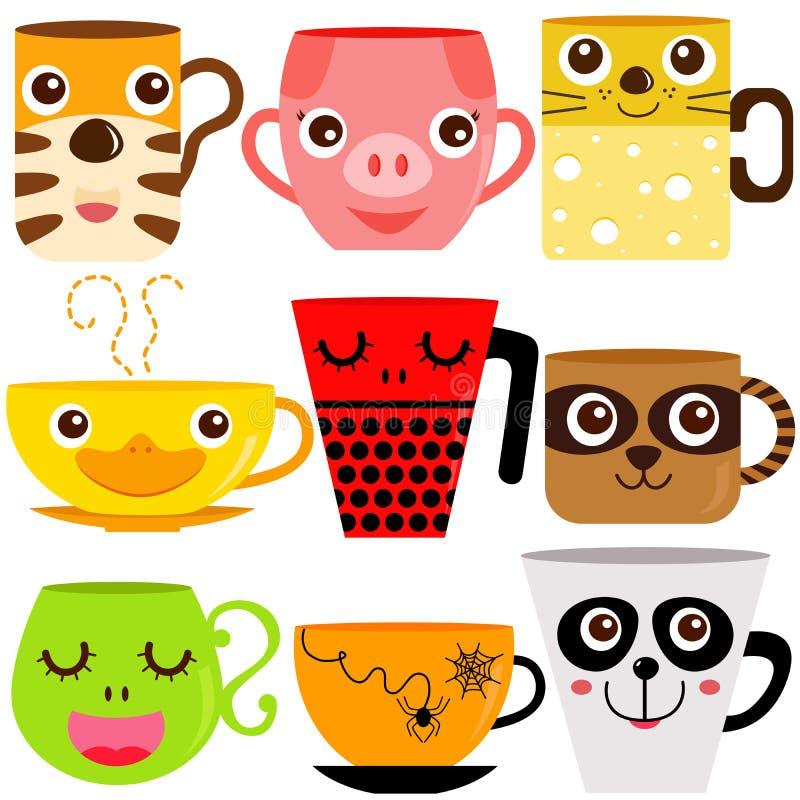 Animal Coffee Mugs / Cups vector illustration