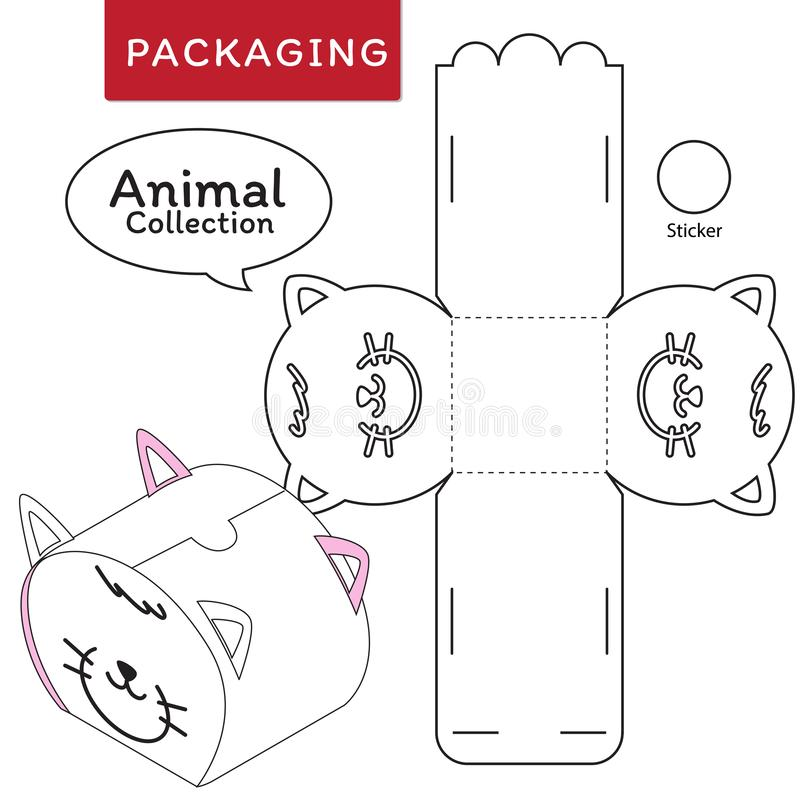 Animal collection vector Illustration of Box.Package Template. stock illustration