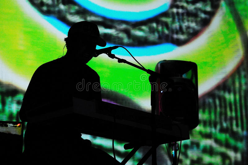 Animal Collective (electronic band) performs at Poble Espanyol stock images