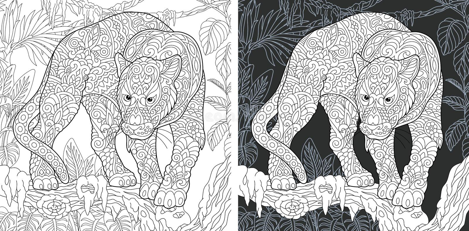 Animal Coloring Page. Animal. Coloring Page. Coloring Book. Colouring picture with panther drawn in zentangle style. Antistress freehand sketch drawing. Vector vector illustration