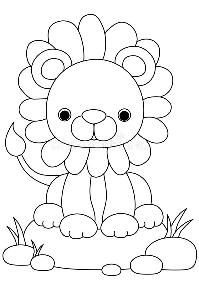 Animal coloring page lion stock illustration