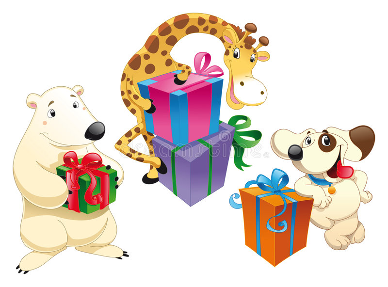 Animal con los juguetes stock de ilustración