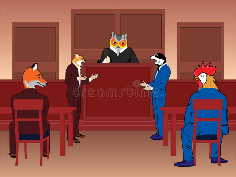 Animal courtroom vector illustration