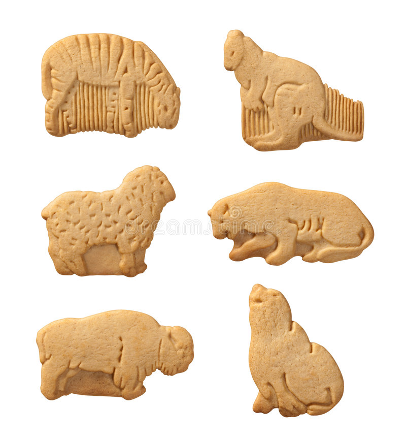 Animal Crackers (with clipping path). Animal Crackers isolated on a white background with a clipping path. Isolation is on a transparent layer in the PNG format stock images