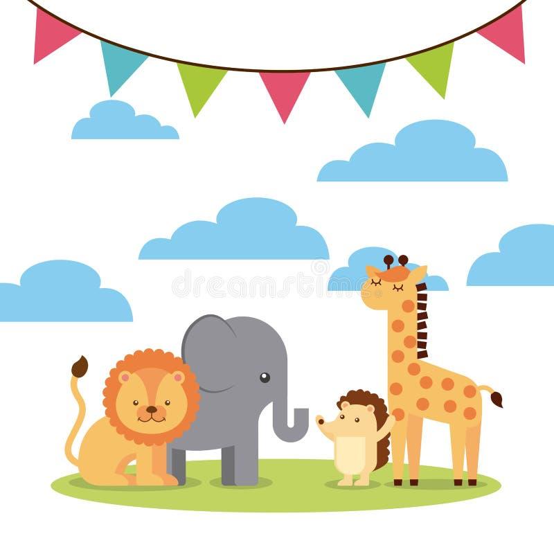 Animal cute birthday party celebration vector illustration