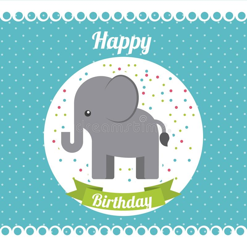 Animal cute birthday party celebration royalty free illustration