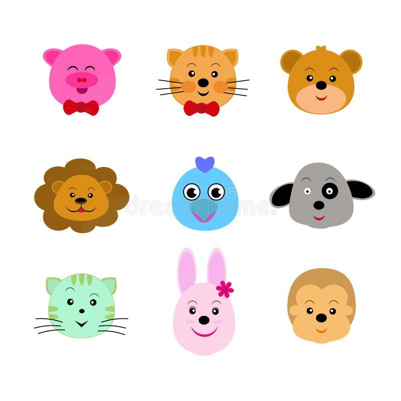 Animal cute faces stock illustration