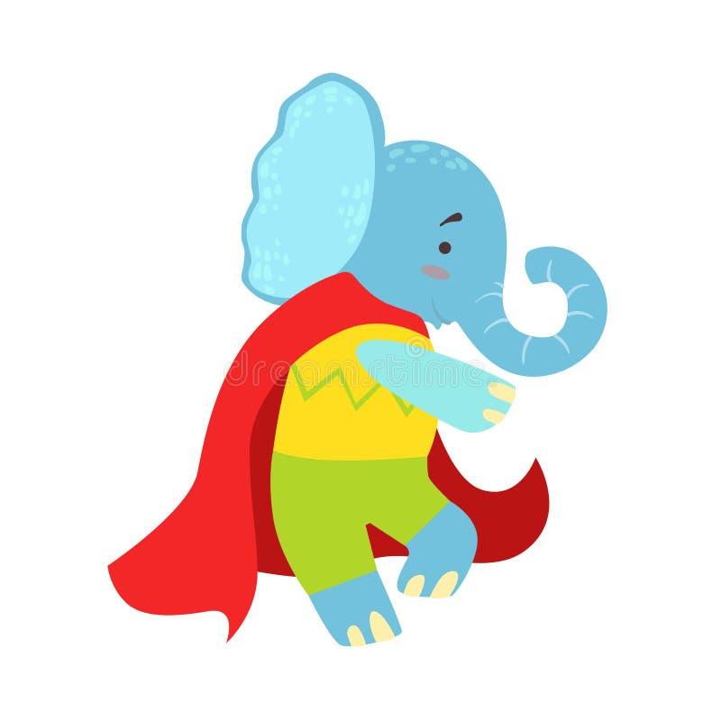 Animal d'éléphant habillé comme super héros avec un caractère masqué comique de surveillant de cap illustration stock