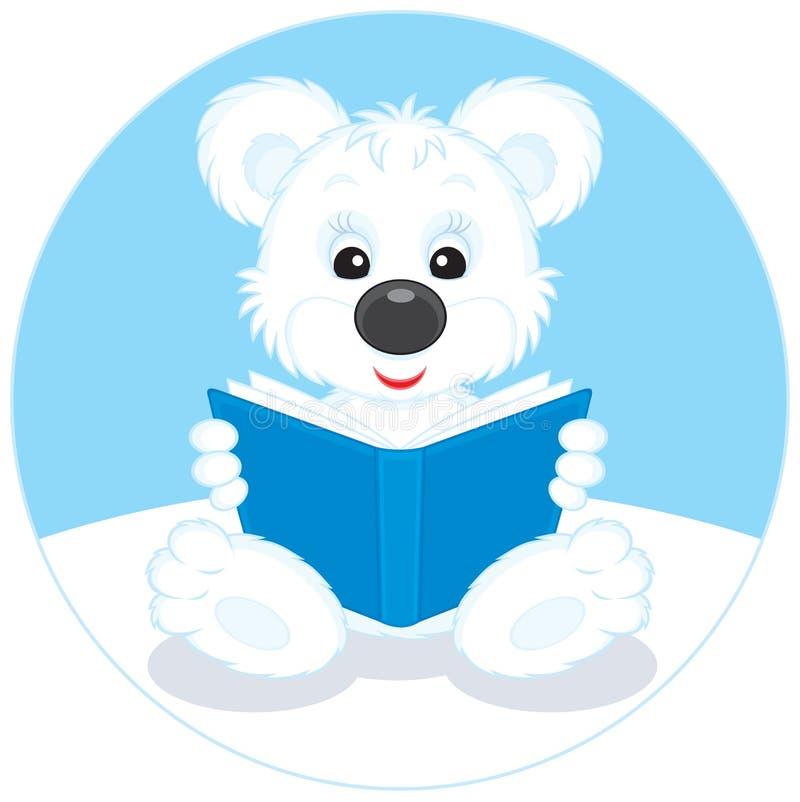 Animal d'ours blanc affichant un livre illustration libre de droits