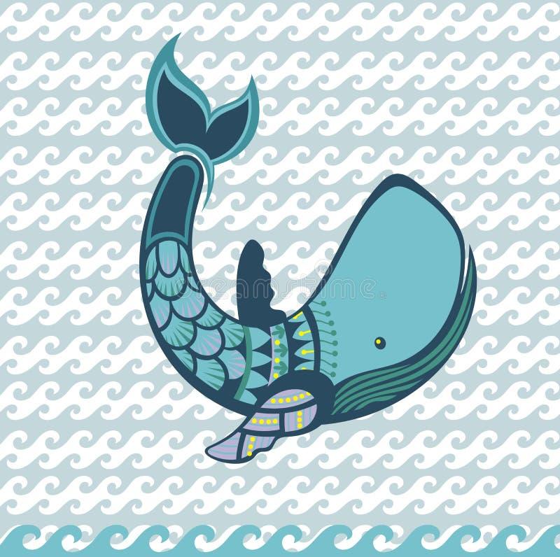 Animal da baleia dos desenhos animados da água ilustração do vetor