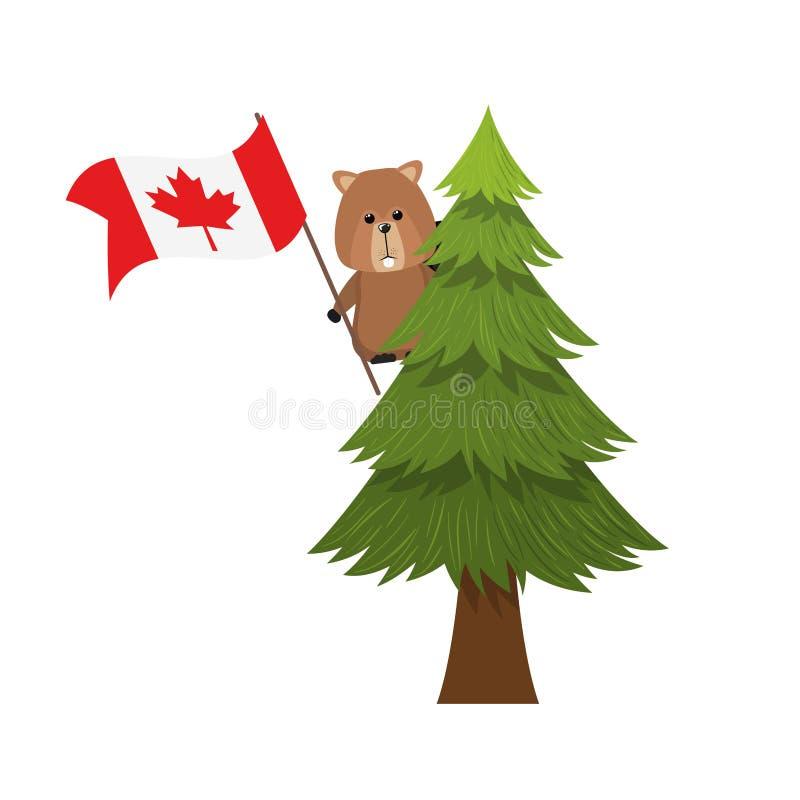 Animal da floresta do castor do projeto de Canadá ilustração stock