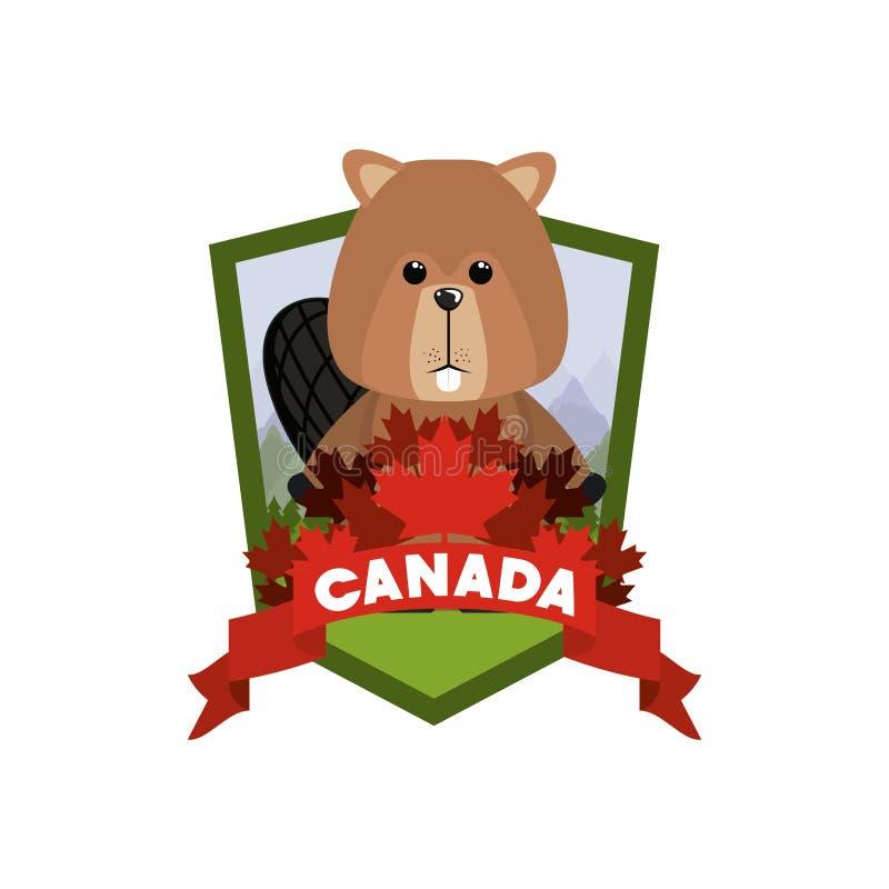 Animal da floresta do castor do projeto de Canadá ilustração do vetor