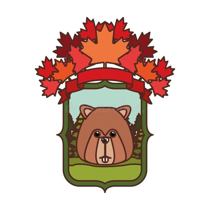 Animal da floresta do castor do projeto de Canadá ilustração royalty free