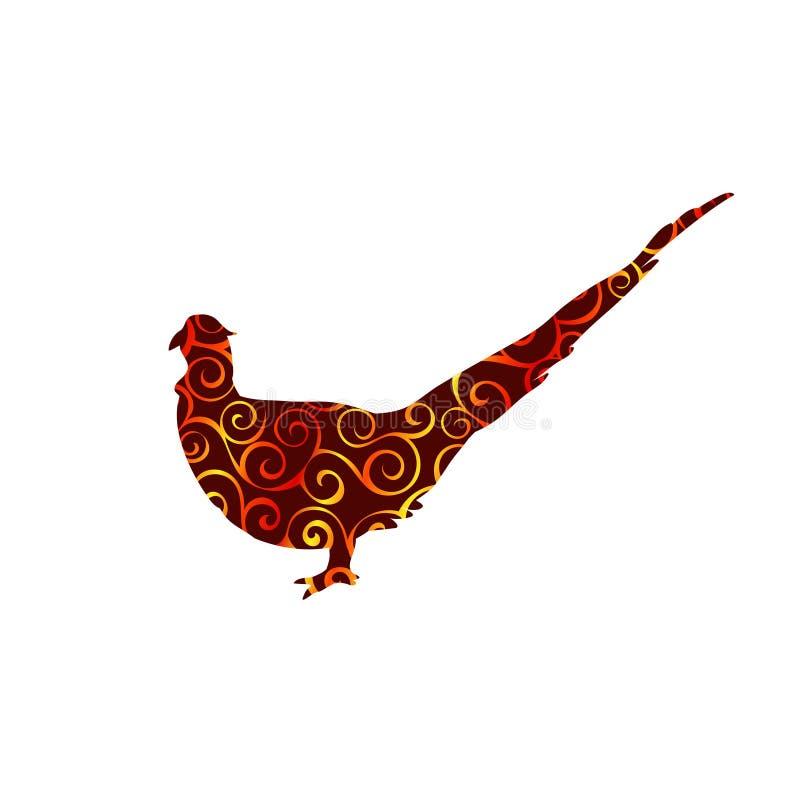 Animal da silhueta da cor do teste padrão da espiral do pássaro do faisão ilustração stock