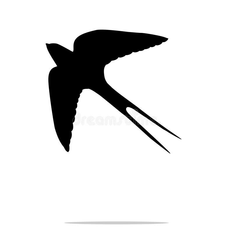 Animal da silhueta do preto do pássaro da andorinha ilustração royalty free