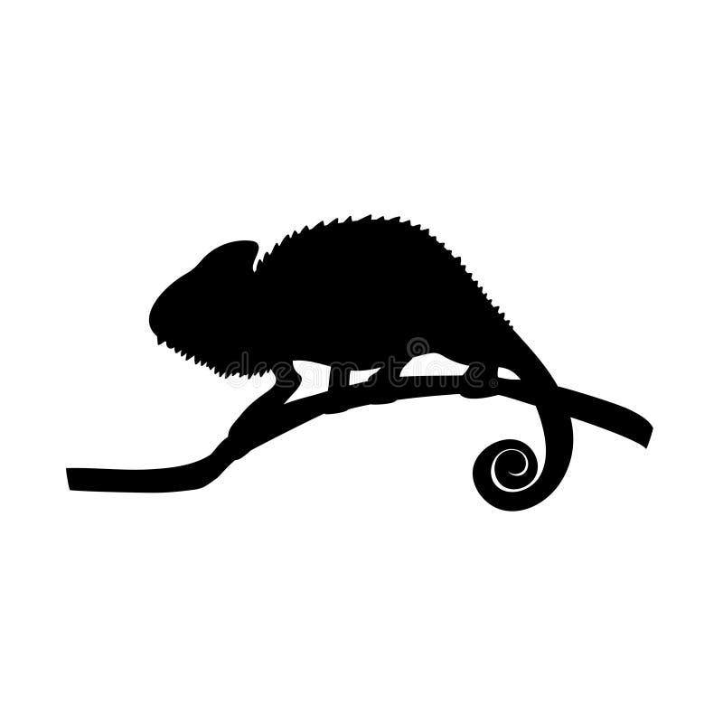 Animal da silhueta do preto do réptil do lagarto do camaleão ilustração stock