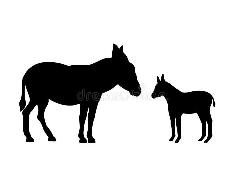 Animal da silhueta do preto do mamífero da exploração agrícola do asno ilustração do vetor