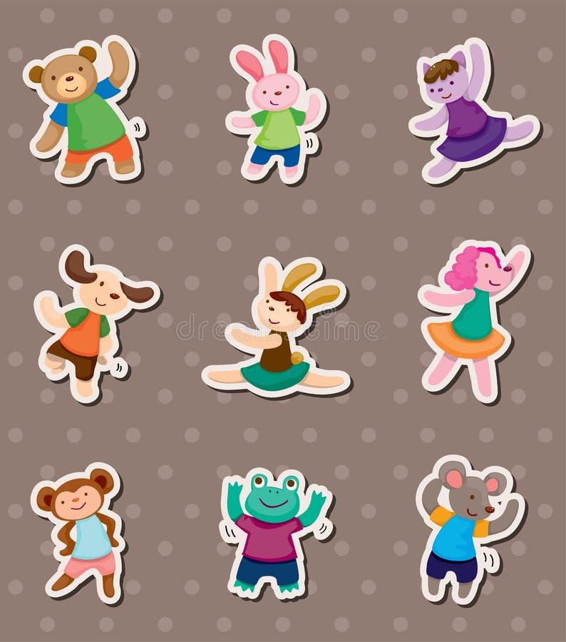 Animal dance stickers. Cartoon vector illustration vector illustration