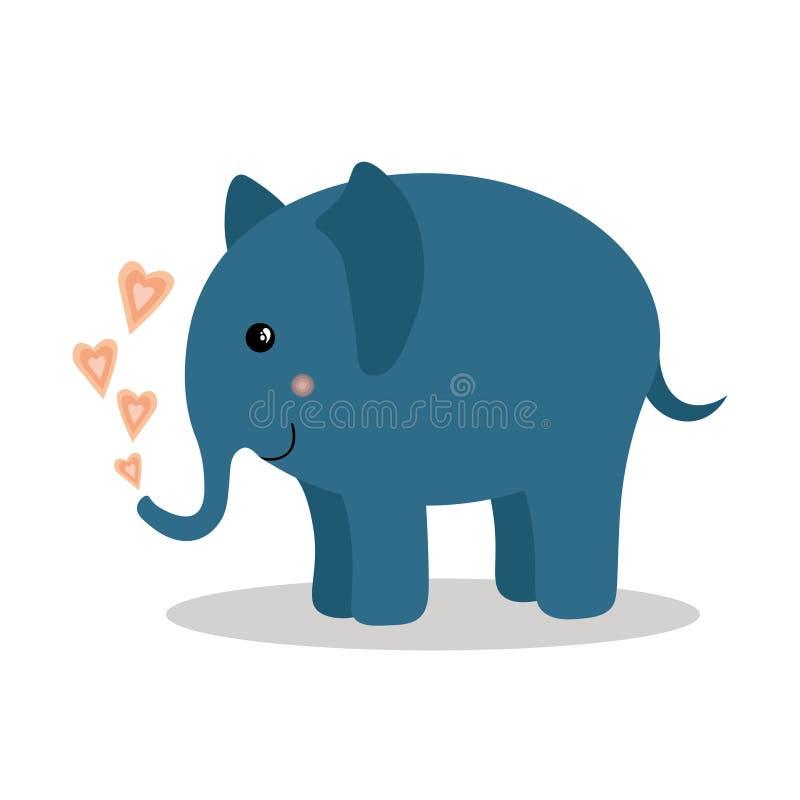 Animal de bande dessinée, éléphant mignon de bébé avec des coeurs sur le fond blanc illustration de vecteur
