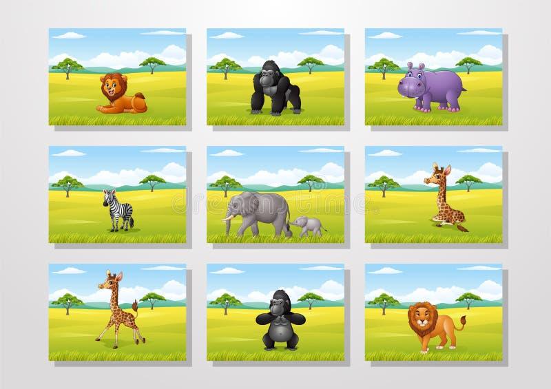 Animal de bande dessinée avec les collections africaines de fond de paysage illustration stock