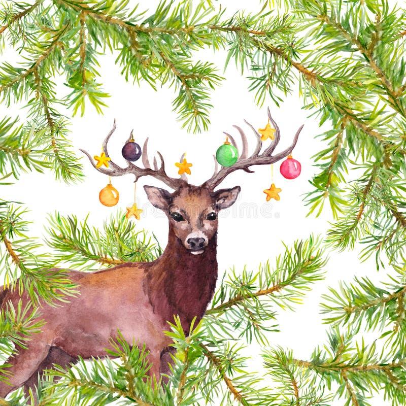 Animal de cerfs communs avec les babioles décoratives sur des klaxons Carte d'aquarelle de Noël avec des branches de pin illustration stock