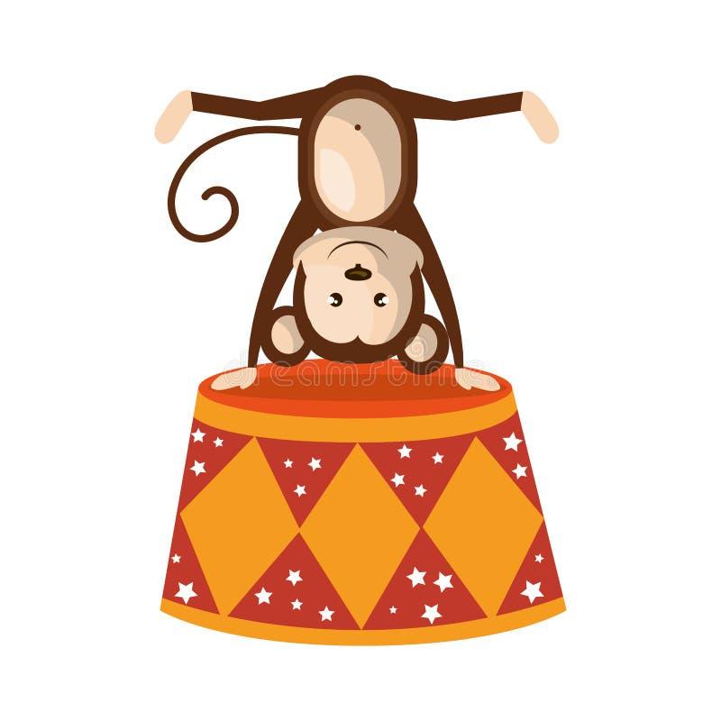 animal de circo lindo del mono ilustración del vector