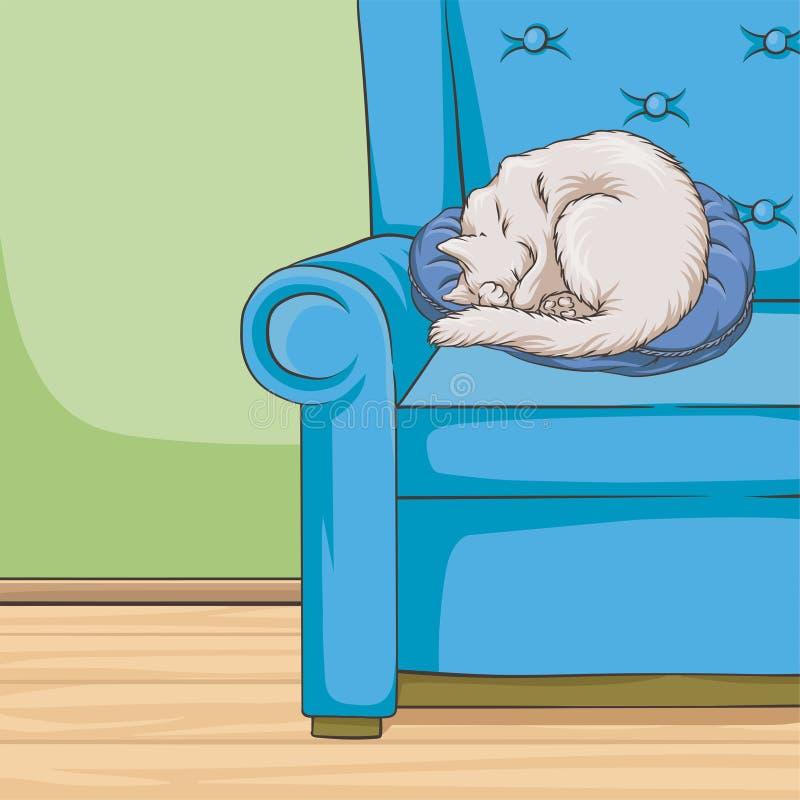 Animal de compagnie blanc mignon de chat dormant sur un fauteuil bleu, illustration intérieure de vecteur de maison de style de v illustration stock