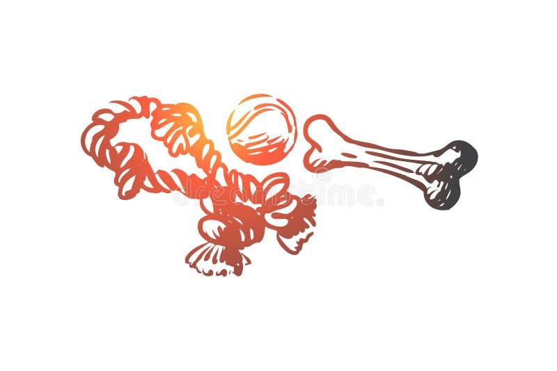 Animal de estimação, brinquedos, animal, osso, cuidado, conceito da bola Vetor isolado tirado mão ilustração do vetor
