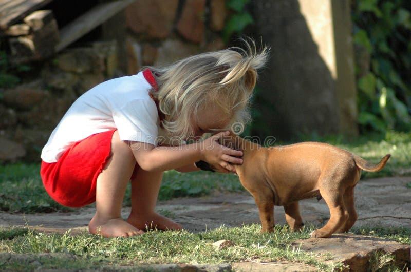 Animal de estimação da criança e do filhote de cachorro imagem de stock