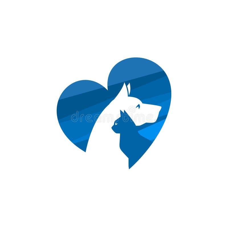 Animal de estimação e veterinário Logo, grupo animal do amante ilustração royalty free