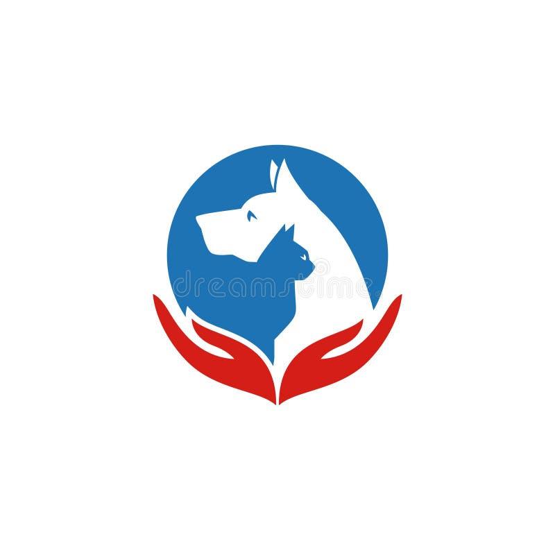 Animal de estimação e veterinário Logo, grupo animal do amante ilustração do vetor