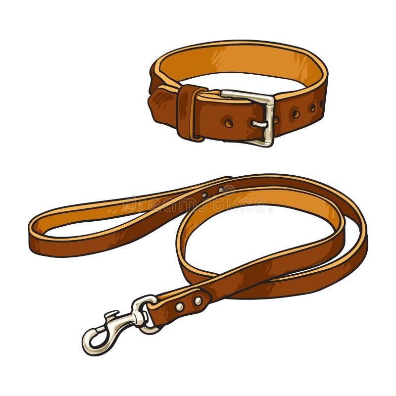 Animal de estimação, gato, colar da curvatura do cão e trela de couro marrons simples ilustração stock
