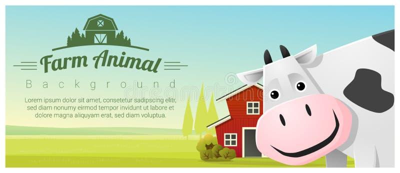 Animal de exploração agrícola e fundo rural da paisagem com vaca ilustração royalty free