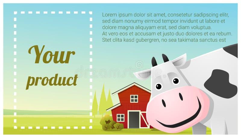 Animal de exploração agrícola e fundo rural da paisagem com vaca ilustração stock